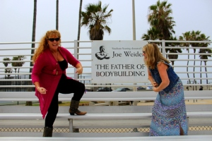 Mum and Deb getting ready for their muscle challenge at Muscle Beach.